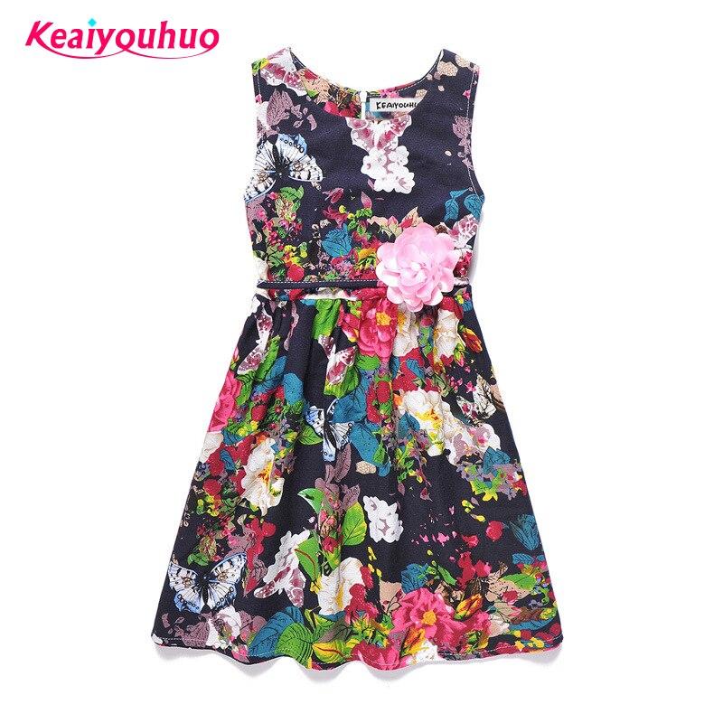 Baby Girls Dresses Summer Children Dress 8 Colors Girls Floral Printed Cotton Toddler Kids Clothing Vestidos Costume 5 7 9 12yrs