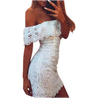 2016 Summer Womens Dress Off Shoulder White Lace Dress Casual Hollow Out Floral Dresses Feamle Vestidos