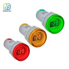 цена на LED Digital Display Voltmeter Gauge Volt Voltage Meter Indicator Pilot Light T90 AC 60V-500V 0-50A Orange Green Blue 22mm