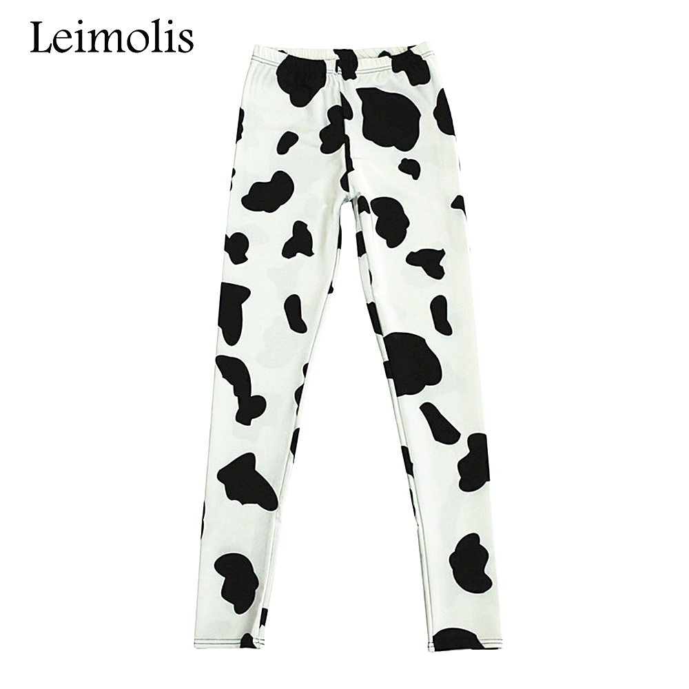 Leimolis 3D Printed Fitness Push Up Workout Leggings Women Gothic Black White Cow Plus Size High Waist Punk Rock Pants