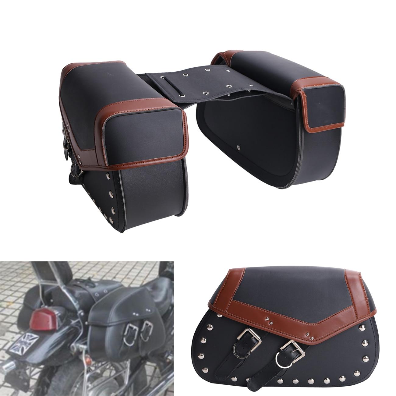 2х старинные заклепки мотоцикл сумки багажа для Harley седло мешок сума для Ямаха Хонда Сузуки Кавасаки мотоцикл #MBH260