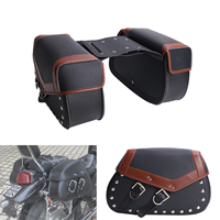 2x Vintage Rivet Motorcycle Luggage Bags For Harley Saddle Bags Saddlebag For Yamaha Honda Suzuki Kawasaki Motor Bike #MBH260