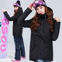 Gsou снег 2018 Лыжный Спорт Костюмы установить новый Водонепроницаемый куртка снег лыжный костюм комплект Для женщин S сноуборд Куртки Mountain лыж