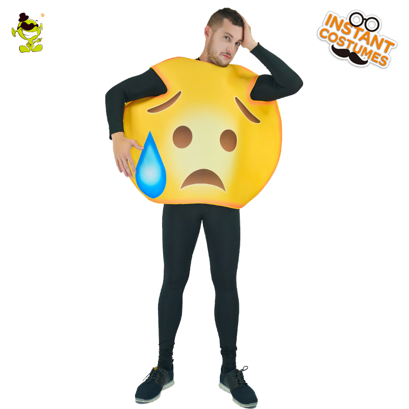 Emoji Oops Face Costume Adult Unisex Fun Emoticon Costumes For Halloween Carnival Party Emotion Role Play Jumpsuit