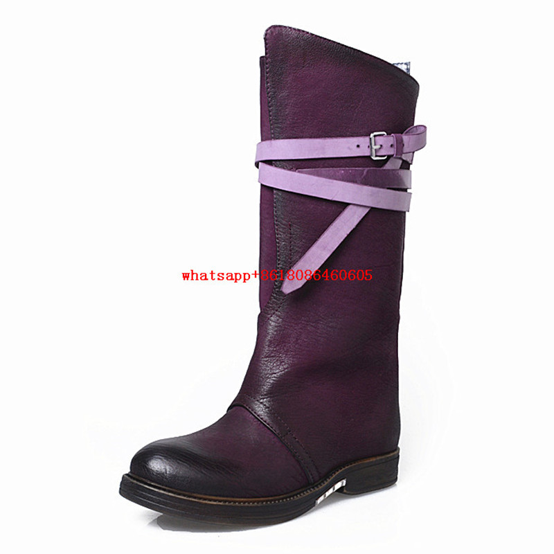 Choudory Botas femininas purple black rain boots women buckle strap genuine leather shoes thigh high cowboy boots platform heels