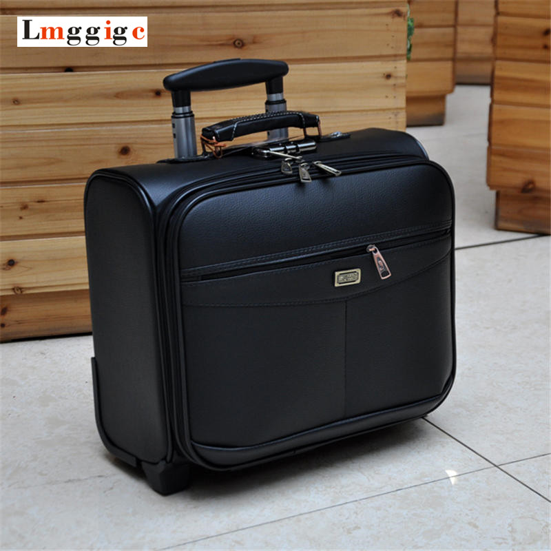 Business Rolling Travel Luggage Casters 16 inch Cabin Carry On Wheels Suitcases Trolley PU Leather Trunk with laptop Bag Business Rolling Travel Luggage Casters 16 inch Cabin Carry On Wheels Suitcases Trolley PU Leather Trunk with laptop Bag