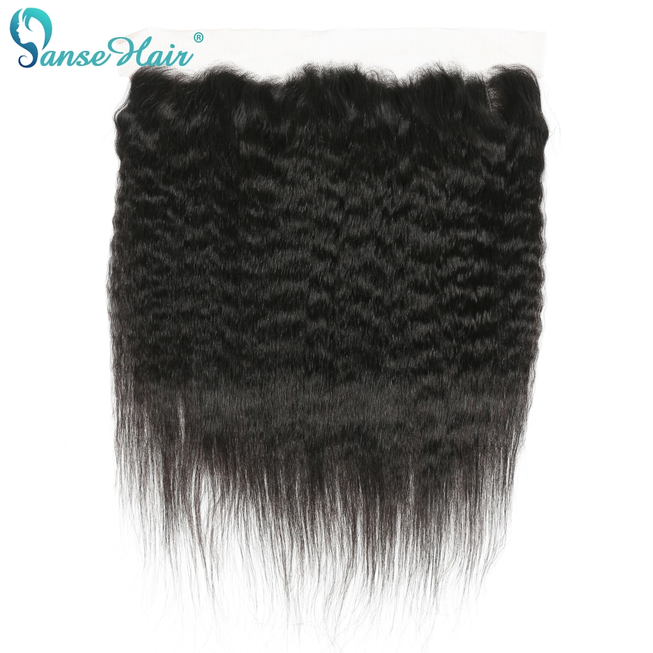 Panse Hair Brazilian Kinky Straight 13x4Lace Frontal Free Part Ear To Ear Human Hair Natural Color Non Remy Hair