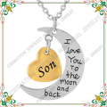 CMJ9468 I Love You To The Moon And Back Golden Heart Urn Hold Son Ashes Necklace Stainless Steel Cremation Jewelry