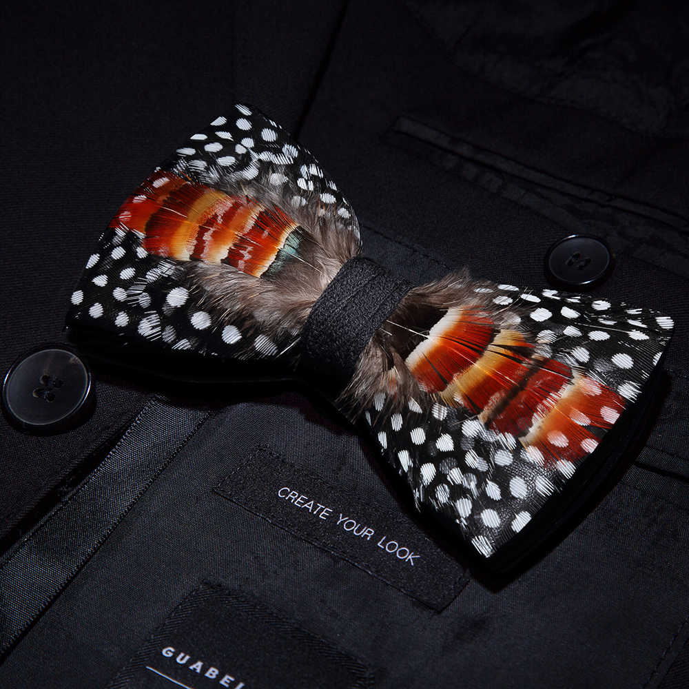 JEMYGINS mode mannen strikje handgemaakte zwart lederen strikje veer boog broche houten box wedding party gift