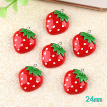 10pcs 24MM DIY resin fruit strawberry charms flatback kawaii cabochon resin craft jewelry making findings ornament decoration(China)