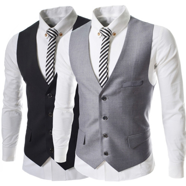 Vest Mens Formal Waistcoat Classic Single Breasted Dress Vests Korean Fitted Vest Waistcoat Sleeveless Bartender Simple M55