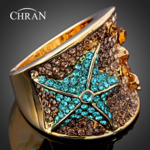 CHRAN Wholesale Gold Color Party Jewelry Rings Elegant Fashion Crystal Butterfly Shape Wedding For Women