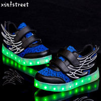Led Shoes Kids USB Charging Boys Girls Lighting Shoes Wing Luminous Sneakers Children Shoes With Light Up Size 25 35
