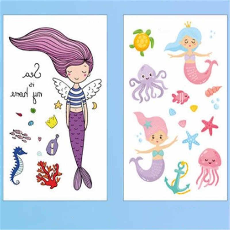 漫画一時的なタトゥー人魚ステッカーかわいい子供のための子供女性ボディつま先指アート防水フェイクタトゥーステッカー