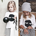 Girls 2pcs Set Kid Long Sleeve T Shirt Tops + Striped Skirt Kids Girl Sweet Outfits Children Christmas Suits Kids Outfit Clothes