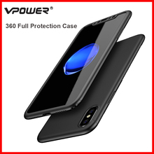 360 Protection Case for iPhone 8 Cover Vpower Luxury Ultra Thin Full Capa Cases For Apple 8+Screen Protector