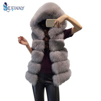 Faux Fox Fur Vest New Winter Thick Warm Fur Vest Hooded Coat Female High imitation Fur Jacket Grey Outerwear