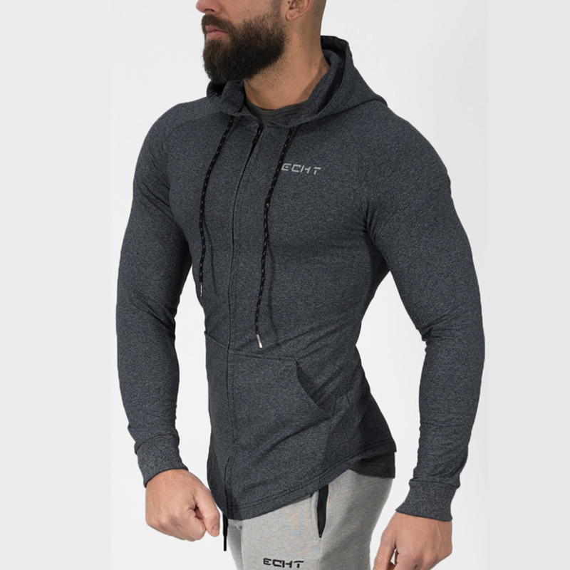 Mens cotone Felpe Moda Casual Cerniera felpa maschio palestre fitness Bodybuilding allenamento abbigliamento sportivo Giacca Con Cappuccio abbigliamento