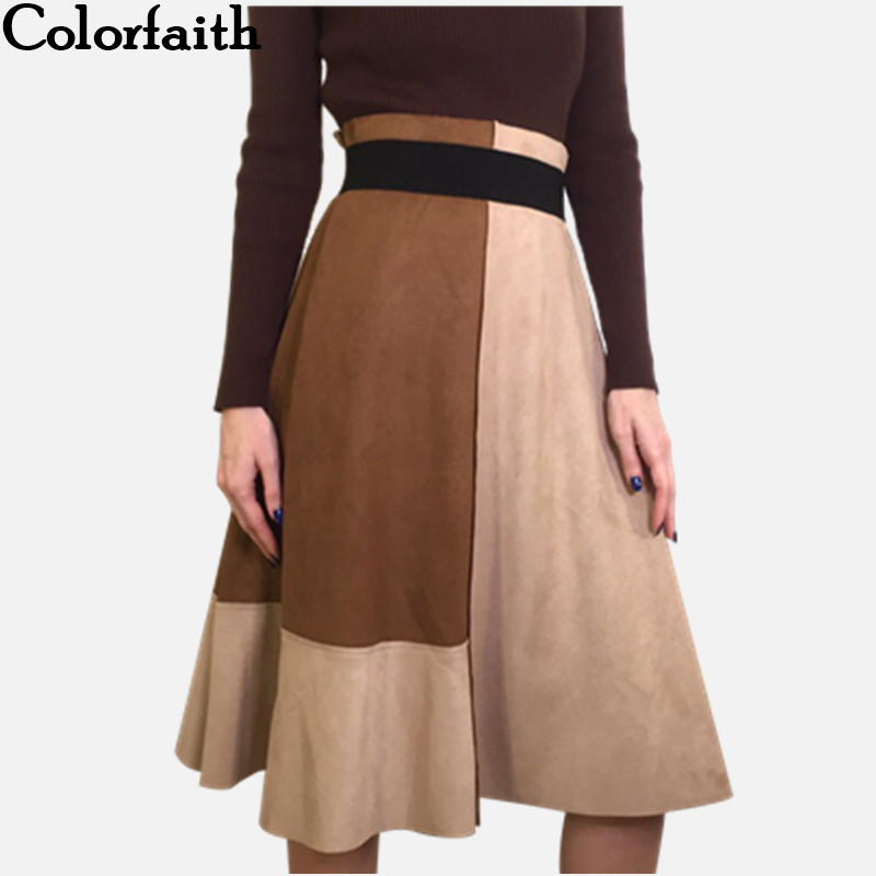 Colorfaith 2018 Women Suede Midi Skirt Autumn Winter Vintage Patchwork Pleated Elegant Ladies Skirt High Waist Femininas SK5549