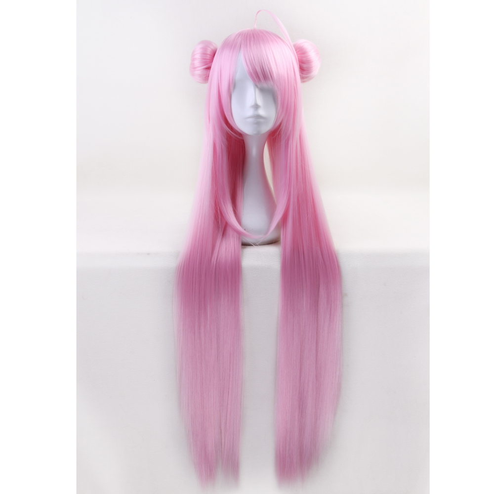 100cm Anime Happy Sugar Life Matsuzaka Satou Long Straight Pink Wig Cosplay Costume Synthetic Hair + Buns Halloween Party Wigs
