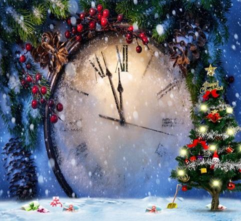 xft nevados luz rama reloj de pared patio de hielo de pino verde rbol de navidad