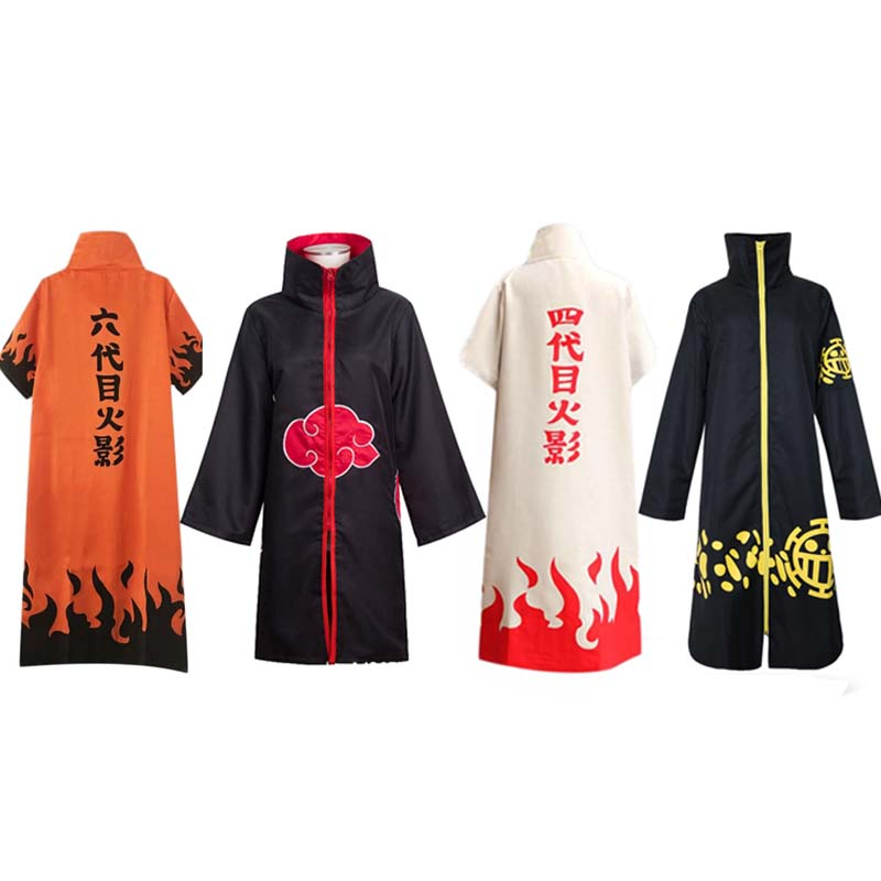 Anime Naruto One Piece Cosplay Vertical Collar Long Cloak Four-six Generations Akatsuki Trafalgaro Cosplay Costume