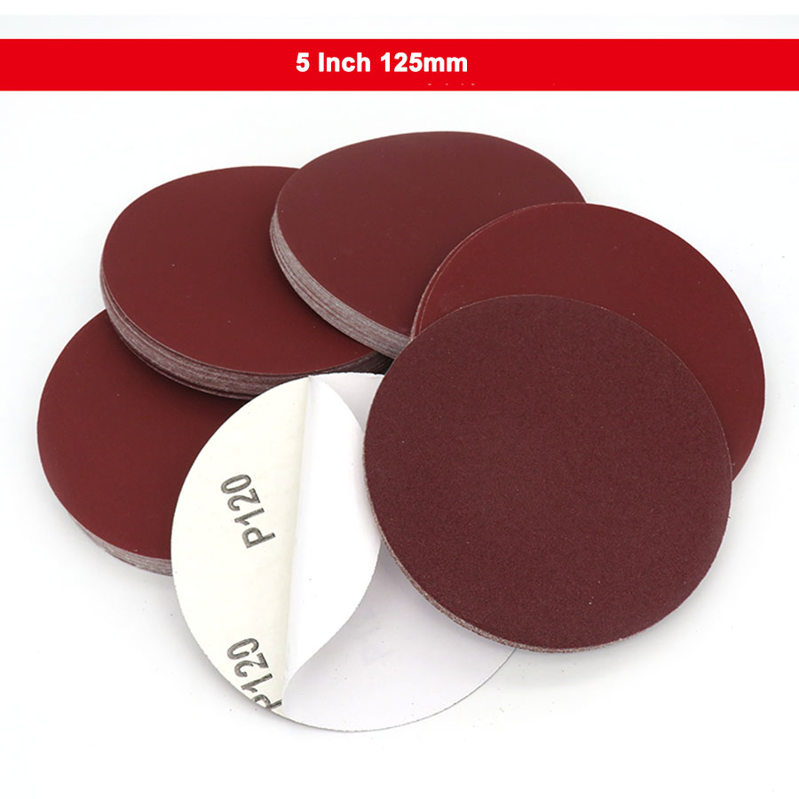 5-100Pcs 5 Inch 125mm Round Dry Sandpaper Glue Backing Pad Disk Sand Sheets Grit 60-2000 Hook And Loop Sanding Disc
