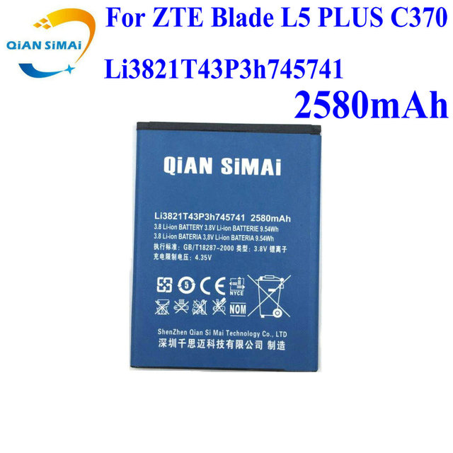 QiAN SiMAi For ZTE Blade L5 PLUS C370 mobile phone 2017 New 100% high quality Li3821T43P3h745741 battery +track code