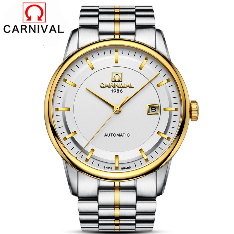 Carnival Top Brand Business Watches Men Full Steel Auto Date Clock Luxury Men s Mechanical Watch