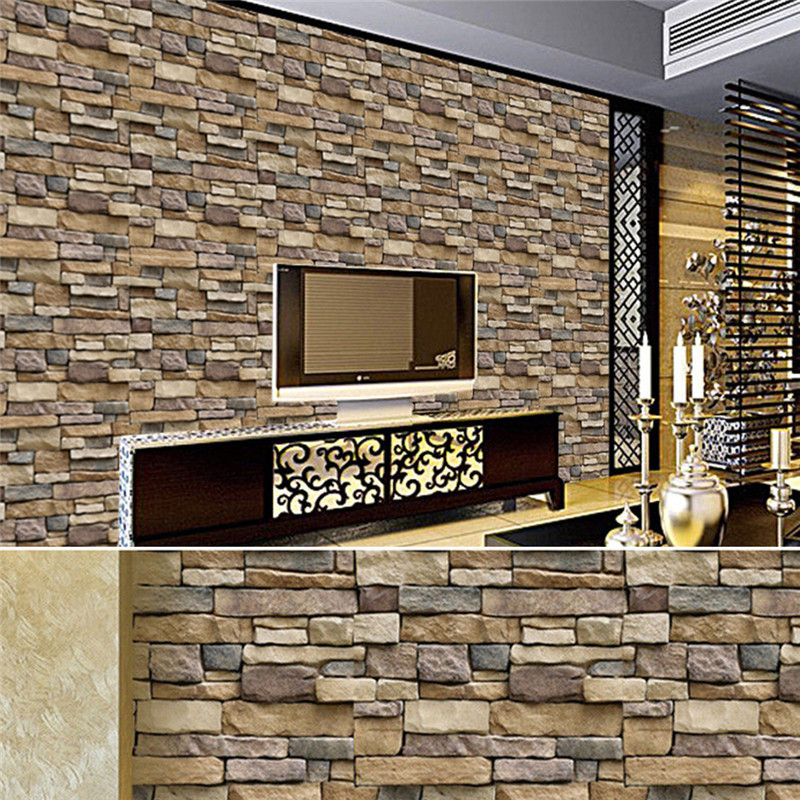 Vintage 3D Brick Stone Rustic Effect Wall Stickers Self