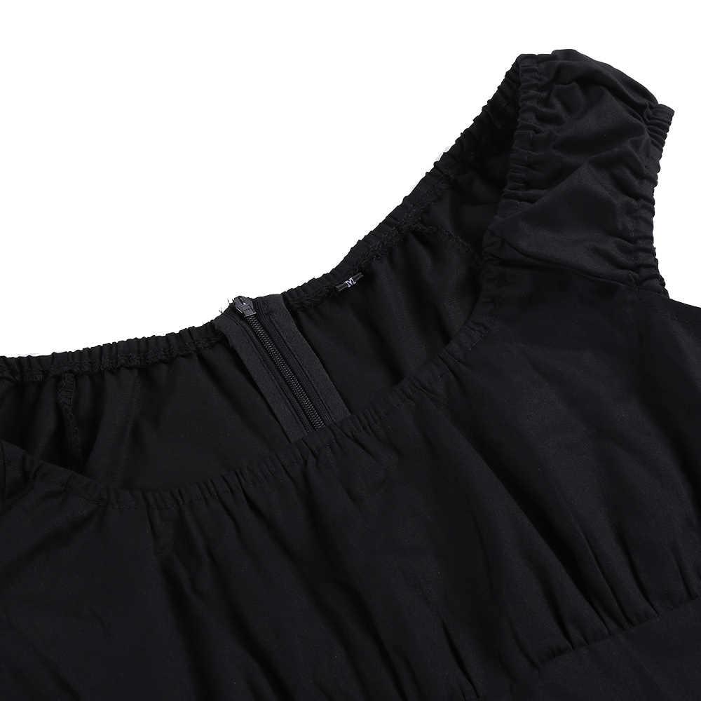 Joineles/черное офисное женское платье в клетку с круглым вырезом, без рукавов, винтажное платье, хлопковое, рокабилли, свободное, 60 s, ретро платье