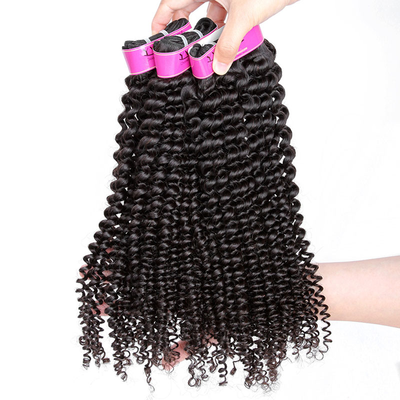 Image 4 - YVONNE Kinky Curly Virgin Brazilian Hair Weave 4A 4B Unprocessed Human Hair Bundles Natural Color-in Hair Weaves from Hair Extensions & Wigs