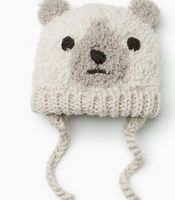 High Quality Baby Winter Hat Bear Face Warm Ear Protection Baby Cap Knitting Woolen Baby Boys