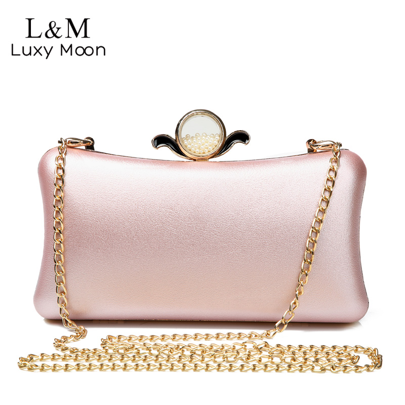 Luxury Gold Silver Evening Purse Women Pink PU Leather Pearl Hand Bag Chain Shoulder Day Clutch Bags Handbag bolso Black XA841H simple women handbag clutch cell phone bag purse pu leather chain messenger bags shoulder bag unistyle