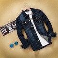 Jaqueta homens Jean Marca de Moda Magro Dos Homens jaquetas Casacos de Impressão Emendados motocicleta Do Vintage Jaqueta jeans casual casacos