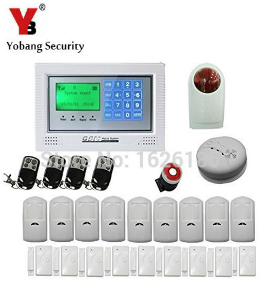 YobangSecurity Wireless GSM Home Security Alarm System Kit with Auto Dial Outdoor Siren PIR Motion Door Window Gas Smoke Sensor yobangsecurity touch keypad wireless gsm sms smart home security burglar alarm system smoke sensor voice pir motion door window