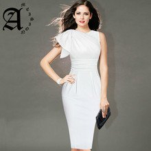 Ameision Womens Elegant Ruffle Sleeve Ruched Party Wear To Work Fitted Stretch Slim Wiggle Pencil Sheath Bodycon Dress