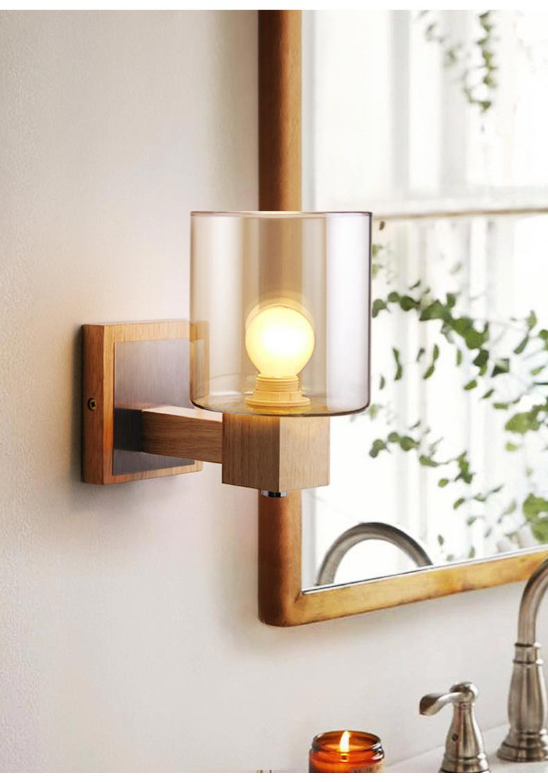 ambler glass shade wood wall light for bedside bathroom ...