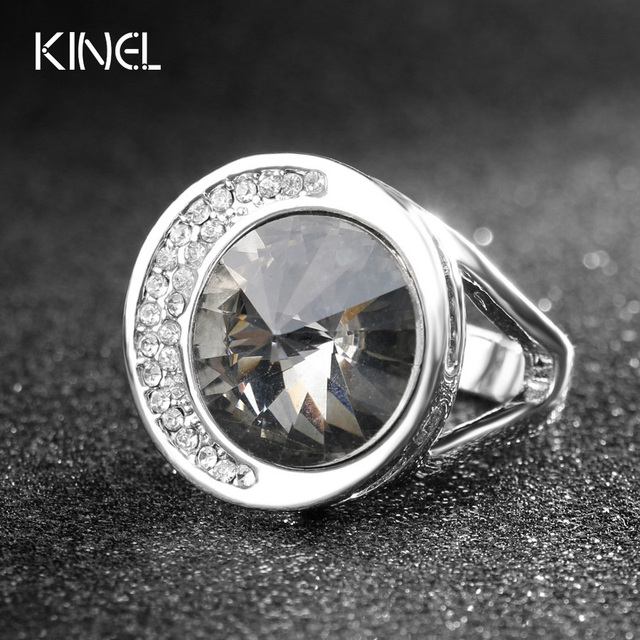 Luxury Punk Rock Bands Unusual Gray Austrian Crystal Wedding Rings For Women Silver Color Vintage Jewelry