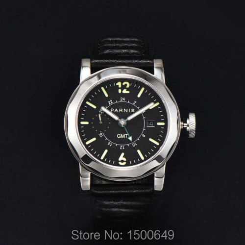 Parnis 44mm black dial Steel Sapphire Glass Automatic GMT date mens Watch-in Mechanical Watches from Watches    1
