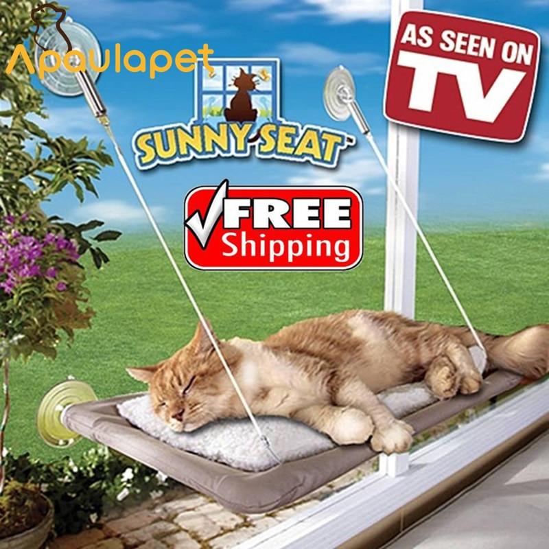 Cute Cat Hanging Beds Bearing 26kg Pet Sunny Window Mount Pet Seat Comfortable Cat Hammock Bed Free Shipping Home & Garden