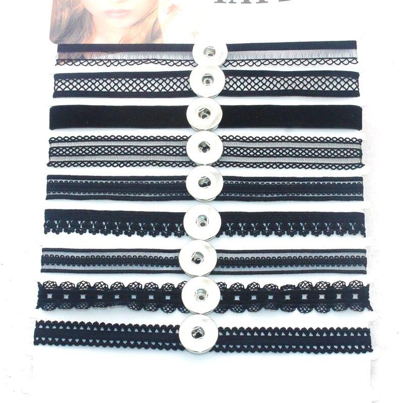 10 PCS/Lot 32-37CM Elasticity Women's Chokers Lace 18mm Snap Button Jewelry Necklace Necklaces & Pendants DIY Jewelry 5059