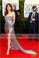 Silver Shine Dakota Johnson celebridades alfombra roja se viste 2015 72nd globos de oro sin tirantes vestido de la raja del vestido de festa