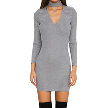 Europe And The United States New Long Sleeve Women's Clothing Slim Knitted Sweater Winter Dress KLY9082