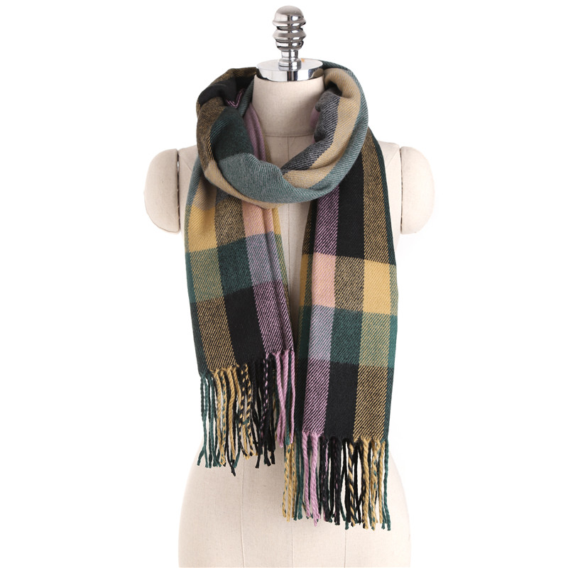 Winter Brand Luxury font b Tartan b font Cashmere Scarf Women Wool Plaid Blanket Wrap thicken