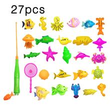 27Pcs Set Plastic Magnetic Fishing Toys Baby Bath Toy Fishing Game Kids 1 Poles 1 Nets 25 Magnet Fish Indoor Outdoor Fishing Toy(China)