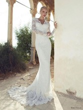 Free Shipping Mermaid V-Neck Keyhole Back Sweep Train Lace Wedding Dress Long Sleeve By Riki Dalal AW432