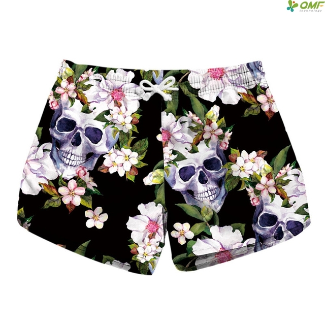 7c716a13e2c Skull Plus Size Shorts Floral Printed Summer Scanties Shorts High Waist  Quick Dry Board Shorts Seaby Sexy Ladies Short Hot Sale