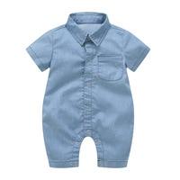 Thin Soft Denim Baby Romper Lapel Collar Infant Clothes Newborn Jumpsuit Baby Boys Costume Cowboy Fashion