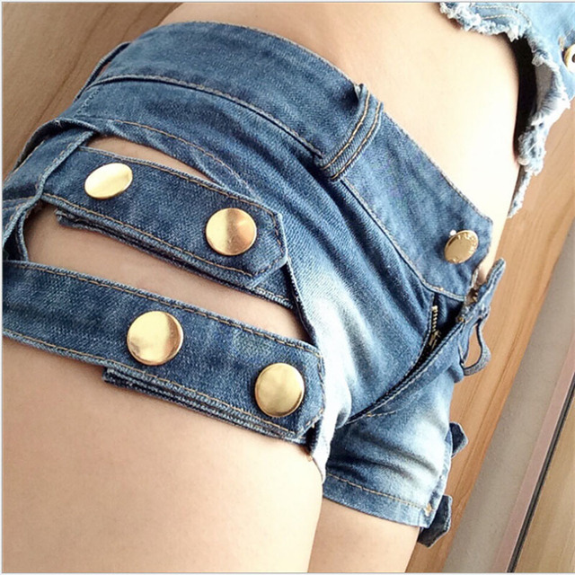 Womens Sexy jeans denim shorts 2017 Summer New Fashion Pure cotton buttons Hollow out super shorts Skinny shorts denim Ladies